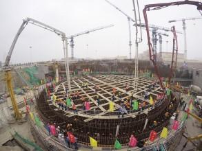 サイトでは6号機原子炉系統部分への最初のコンクリート打設が行われた©CGN