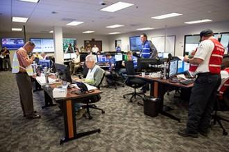 DOEが運営する最新設備の緊急時オペレーション・センター(EOC)は2015年10月に完成し、緊急時演習などが行われている©WIPP