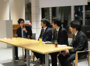 講演者:凸版印刷 犬飼氏、東芝 神谷氏、参加学生2名による意見交換
