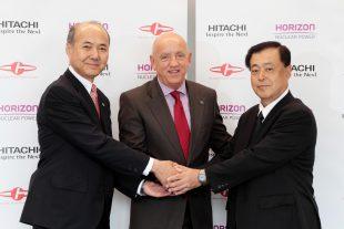 (L to R) Katsumi Nagasawa, Vice President and Executive Officer at Hitachi, Ltd., CEO Duncan Hawthorne of Horizon Nuclear Power Ltd., President Mamoru Matsumura of Japan Atomic Power Company ©Hitachi, Ltd.