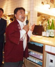 Hisao Shike, seventh-generation brewer at Shike Shuzo-ten, in Iwaki City, Fukushima, offers sake made in Fukushima.